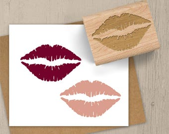 Kiss Stamp, Valentine Stamp, Lipstick Stamp, Lips Stamp, Sealed With a Kiss, Romance Stamp, Valentines Rubber Stamp, Date Night Stamp 122