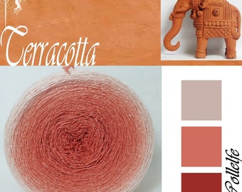 Terracotta* Merino silk Gradient Yarn hand dyed - Lace weight