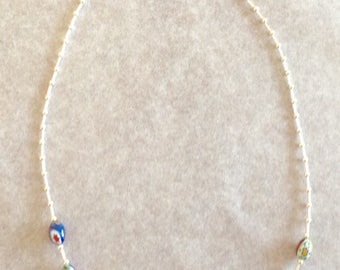 Sterling and Venetian glass beaded necklace