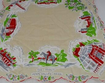 Vintage Kansas City Missouri Hanky - Souvenir Handkerchief