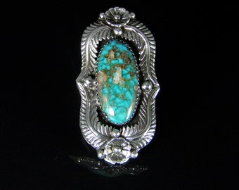 Natural Turquoise Ring Sterling Silver Handmade Size 9.0, R087