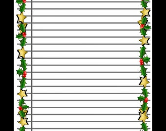Printable Lined Scrapbook Paper With Christmas Border, Digital Background,  Writing Paper, Instant Download