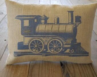 Vintage Train Burlap Pillow, Navy pillow, locomotive, Boy Nursery, Train Nursery, Farmhouse Pillows, Kid10,  INSERT INCLUDED