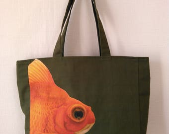Goldfish print tote bag