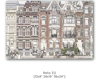 Amsterdam print, houses in Amsterdam, traditional Dutch decor, pencil drawing effect, row of houses, old street wall art, nostalgic photo
