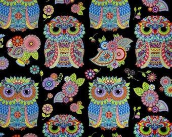 Wilmington Prints - Night Bright - Owl Panel - Black