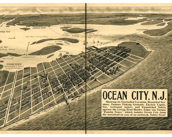 Digital Print, Ocean City, Zombie Art, Vintage Map, Ocean City NJ, Alternate Histories, New Jersey, zombie apocalypse, Geekery, Zombies