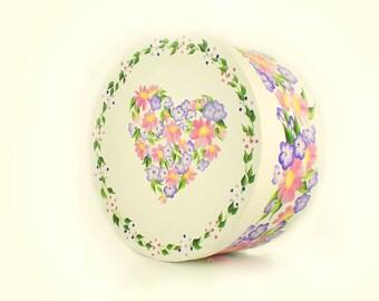 Hand Painted Hat Box, Large 7.5 in. - Elegant Pastel Floral Heart Design, Polka Dot Border - Keepsake Box Memorial Box
