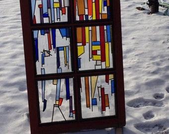 Fused Glass Window Frame, Instalation, Glass Fusion, Yard Art, Sun Catcher