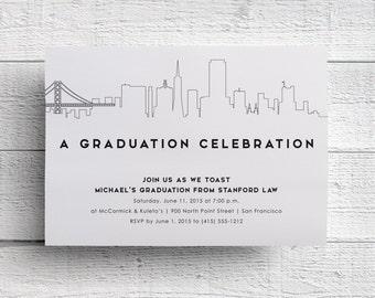 San Francisco Graduation Party Invitation, San Francisco Skyline, San Francisco Invite, Golden Gate Bridge, Berkeley Graduation, Stanford
