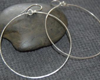 silver drop hoop earrings, dangle hoop earrings, sterling silver dangle hoops, minimalist earrings, everyday earrings, silver hoop earrings