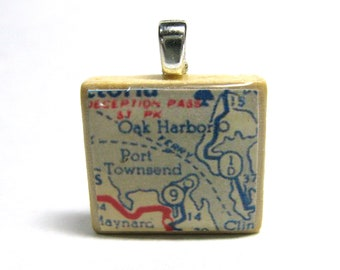 Port Townsend and Oak Harbor, Washington - 1951 vintage Scrabble tile map pendant