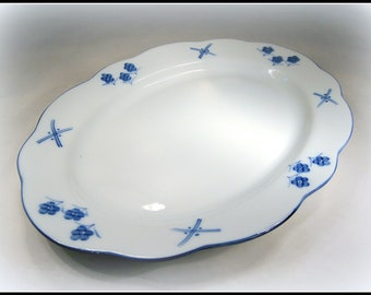 "Serving Platter 14"" Oval Cordon Bleu Vintage Porcelain C. Steele Collection for Porcelaine de Chine Cordon Bleu REDUCED PRICE"