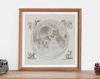 ANTIQUE LUNAR MAP - Antique Map of the Moon, Professional Reproduction