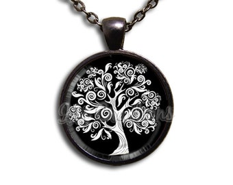 Oak Tree Whimsy Swirly - Round Glass Dome Pendant or with Necklace by IMCreations - NT111