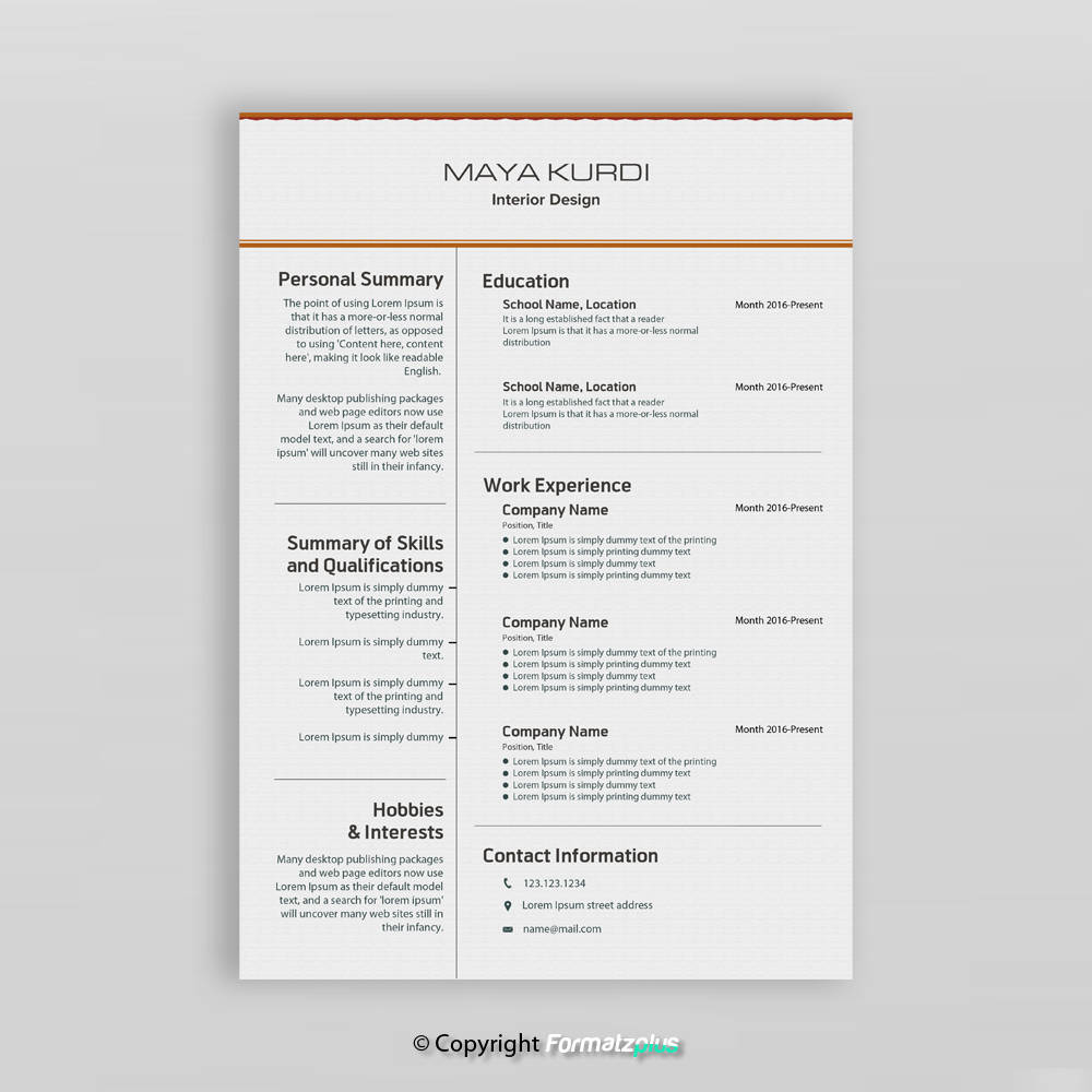 Professional Resume Template For Word Simple Resume Design