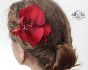 Hair Accessory, Wedding hair accessory, Red Orchid Hair Clip - Bridal Hair Accessories, Red Hair Flower,Beach Weddings, Silk Wedding Flowers