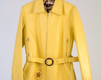 Leather Jacket 70 ' Gucci style, yellow handmade details-cod D59