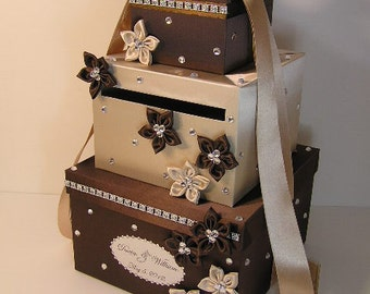Wedding  Card Box Choco Brown and Champagne Gift Card Box  Money Box Holder-Customize your color