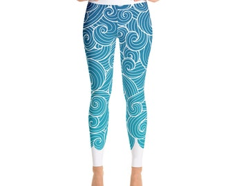 Sea Swirl Blue Ombre Sports Leggings by Neptunes Leggings