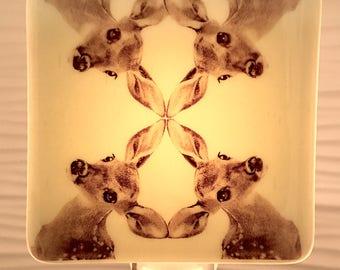 Baby Deer Kaleidoscope Night Light Fused Glass