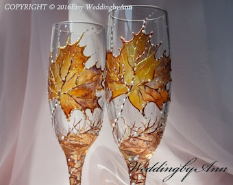 Fall Wedding Glasses, Wedding Champagne Flutes, Bride And Groom, Personalized Toasting Flutes, Classic Wedding, Wedding gift