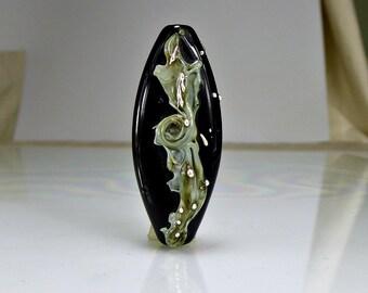 Black  Grey Silver Lampwork Focal Bead