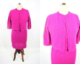 "1960s knit suit | fuschia sweater top cardigan skirt acrylic 3 piece set | vintage 60s suit | W 36"""