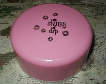 Vintage Skinny Dip Bath Dusting Powder Container Puff Pink Mod