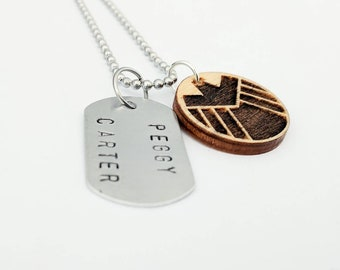 Peggy Carter - Agent Carter - I Know My Value - Marvel - Hand Stamped Dog Tag & Wood Pendant Necklace