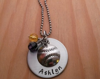 Hand Stamped Perosnalized Softball Necklace - Girls Softball Gift - Softball Gifts - Softball Senior Gifts - Softball Team Gift