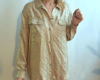 CLOVER Vintage Anna & Frank Oversized Gold Patterned Silk Bed Shirt with Cloth Buttons and Pockets