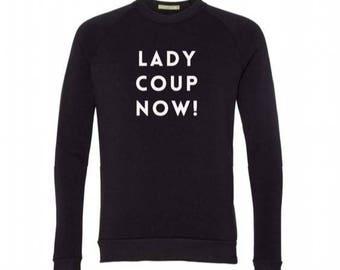 New LADY COUP NOW Crew Neck Sweatshirt, Heather Gray, Small, Fleece, Anna Joyce, Portland, Oregon