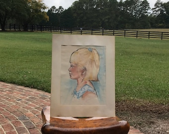 Original Watercolor Profile of Young Blonde Girl, Signed by the Artist (1991)