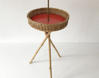 Lovely MODERNIST | Mid Century Modern | SIDE TABLE | Bamboo | Wicker | Auböck Era | 1950s/60s