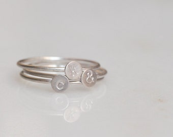 Tiny stackable sterling silver initial ring