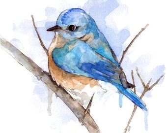 "Bluebird Painting - Print from Original Watercolor Painting, ""Bluebird"", Home Decor"