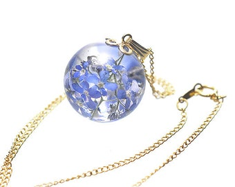 Forget-me-not, Real Petals Necklace, Resin Jewelry, with 14K Gold Filled Chain