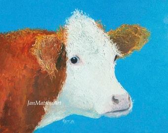 Hereford Cow art, Animal Art, Kitchen painting, kitchen wall decor, nursery wall art, cattle art, ranch decor, country decor, Etsy art