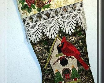 Embroidered Christmas Stocking, Elegant, Cardinal and Birdhouse, gold metallic fabric, victorian lace, cardinal, birdhouse, personalized