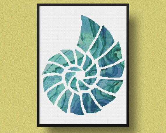 seashell cross stitch pattern nautical pdf pattern