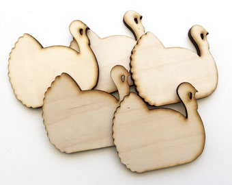 Unfinished Wood Turkeys Set of 5 , Christmas and Thanksgiving Turkey Holiday Cutout Shapes , Ready to Paint Turkey Blanks