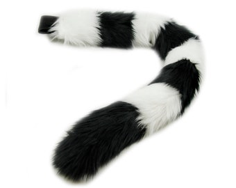 Pawstar Stripey Kitty Tail - Furry Cat Plush Striped Stripy Fluffy Soft Black White Purple Pink Blue Gray Brown Cosplay anime 3542