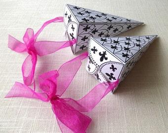 PDF Fleur de lis Wedding Party Favor May Basket Ornament Box Christmas Decoration Cornucopia Instant Download French Fleur Paris