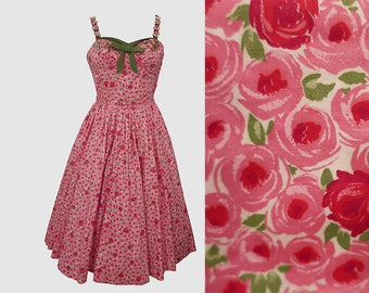 1950s Rose Print Dress Rhinestones Spectator L