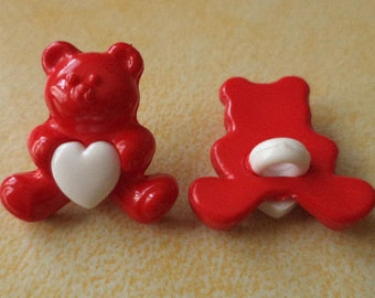 Teddy buttons 6 buttons for kids red 16 mm (5617e)