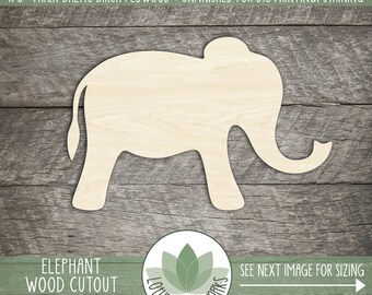 Cute Elephant Wood Shape Cutout, Laser Cut Wooden Elephant, Many Size Options For DIY Projects, Nursery Decor, Blank Wood Shapes