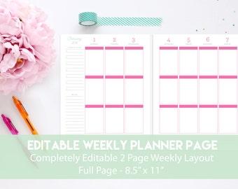 Editable Weekly Planner Page | Printable Weekly Planner | Editable Weekly Planner
