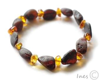 Raw Unpolished Baltic Amber Bracelet, Unisex Bracelet