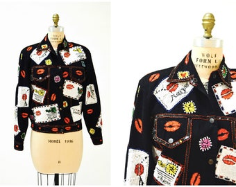 Vintage Sequin Jacket Size Medium Large in Red and black Sequin jacket With kisses Love Lips and Valentines Day Hearts Modi Denim